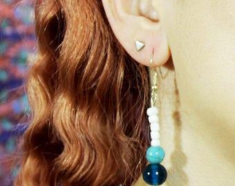 Blue & turquoise lotus drop earrings