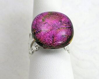 Magenta Purple Dichroic Fused Glass Filigree Ring   Inspired By Disney's Old Key West Resort (Item #364)