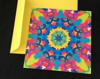 Colourful patterned square greeting card