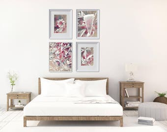 Large Bedroom Wall Decor, Pastel Art Prints Set, Neutral Art Prints Set, Large Gallery Wall, Large Floral Wall Decor, Printable Art Bundle
