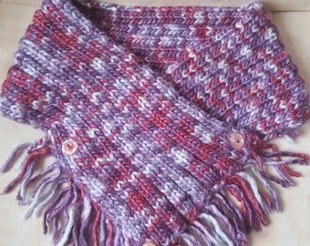 Adult's Cowl, Crossover short scarf, Hand-knitted, Lilac through to White, Chunky yarn, Recycled buttons, Tassels through Cowl, Comfy, Gift.