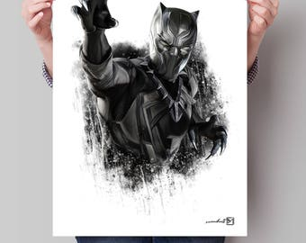 Black Panther, Chadwick Boseman, Marvel, superhero, artwork, handmade, PRINTABLE art, poster, download, digital print, home decor, wall art