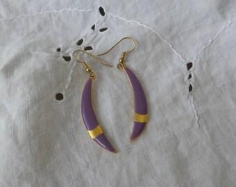 Purple and Gold Metal Earrings