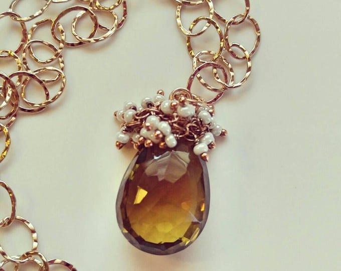 Cognac/beer quartz pendant necklace, huge quartz pendant, Rose gold chain. Hand crafted jewels. Large quartz and pearl pendant.