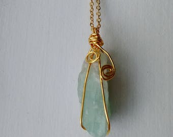 Wire Wrapped Raw Fluorite Pendant