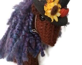 Crocheted  Halloween Horse with Purple Mane