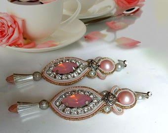 Earrings,opal earrings, soutache earrings, pink earrings, long earrings, embroidered earrings,gift,wedding,soutache necklaces, free shipping