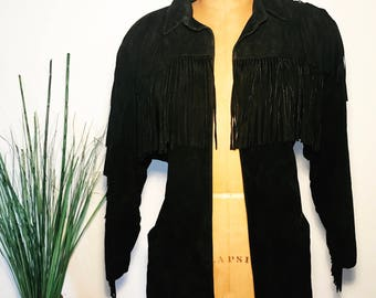 80's Vintage Black Suede Fringe Jacket KENAR Leathers Westerns Style Shoulder Pads Genuine Leather Retro Hippie Boho Motorcycle Fall 90s