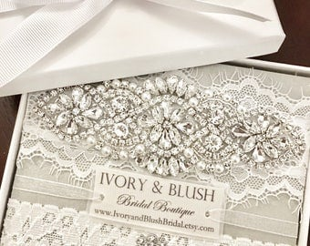 Wedding garter- LIGHT IVORY Wedding garter set, Garter, Wedding, Bridal Garter, Garter set, Lace Garter, Style #L0117