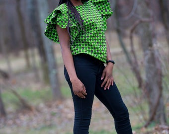 African Print Ruffled-Sleeve Top