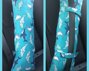Seatbelt pillow, Seat belt pillow, car pillow, travel pillow, kids car pillow, adults car pillow, sharks