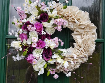 BURLAP RUFFLE ROSES, wreath, floral, flowers, decor, door decor, plaque, gift, decoration