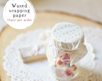 50 Food Grade Waxed Paper Twist Candy Wrappers Cute Colorful Polka Dots - Handmade Soap, Candle, Caramel, Chocolates, Truffle Wrapping Paper