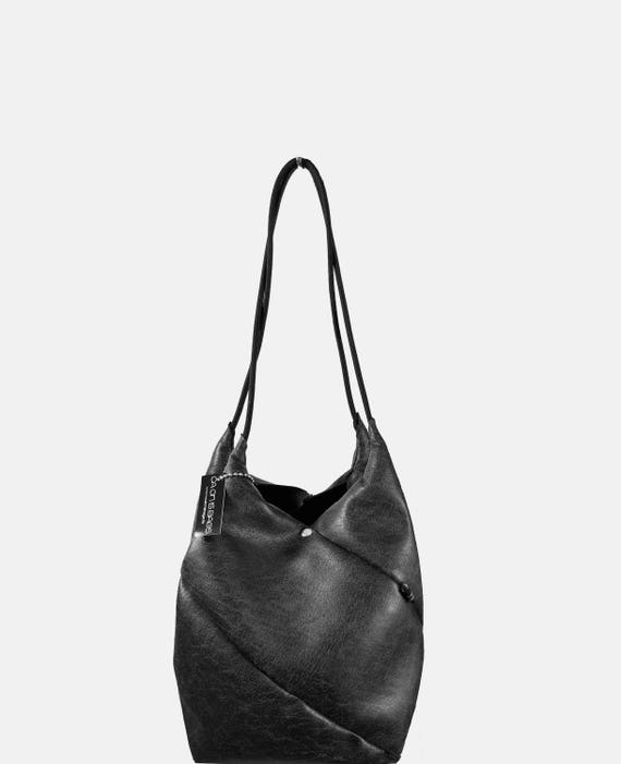 GEOMETRIC ingenious handbag small shopper black made of leatherette minimalist design