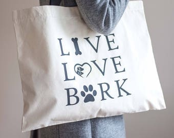 Large Dog Tote Bag | Live Love Bark Bag | Canvas Tote Bag | Dog Lover Bag | Large Shopping Bag | Christmas Gift | Dog Tote Bag |