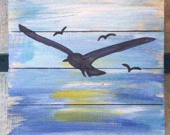 Seabird Art, Beach Pallet Art, bird painting, Beach art, Marine wood art, Coastal Decor, Florida art