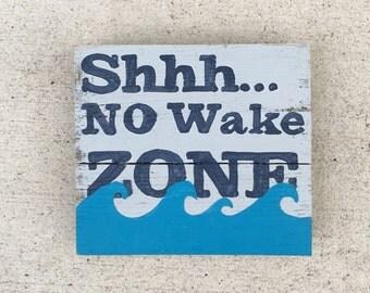 No Wake Zone, Nursery art, Baby Shower art, Baby Pallet Art, Babies room painting, Beach art, Marine wood art, Coastal Decor
