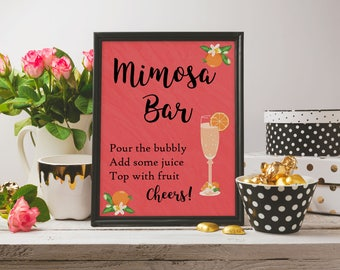 Mimosa Bar Sign, Bridal Shower Mimosa Bar Sign, Baby Shower Mimosa Bar Sign, Printable Mimosa Bar Sign, Mimosa Bar Instant Download