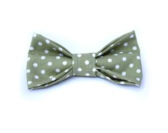 Sage Green Polkadots Bow Tie