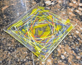 "Fused Glass art Serving Plate, hand made, decorative, small Square Fused Glass Plate, Clear with Multicolor Stringer accents ""Fiesta"""