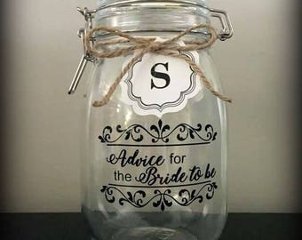 Advice for the Bride to Be | Jar | Bridal Shower | Notes | Keepsake