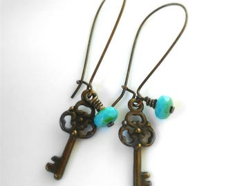 Skeleton Key Earrings Turquoise Picasso Bead Earrings Antique Brass Key Earrings Bohemian Earrings Turquoise Earrings Women's Earrings