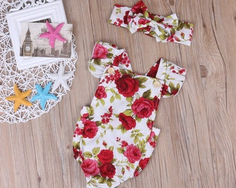Baby Girls Floral Flower Rompers