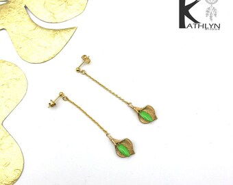 Arum meadow green and gold earrings
