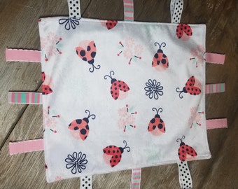 Baby Ribbon Tag Blanket- Minky Lady Bug Lovey- Baby Girl Security Blanket