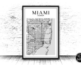 Miami Poster, Miami Print, Miami Map, Map of Miami, Miami Map Print, Printable Street Map, Miami Wall Art, Miami Map Decor, Instant Download