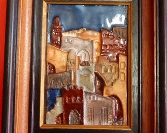 Ceramic Tiles in wooden frame from artist Ruth Faktor from Israel, Vintage,28x23cm