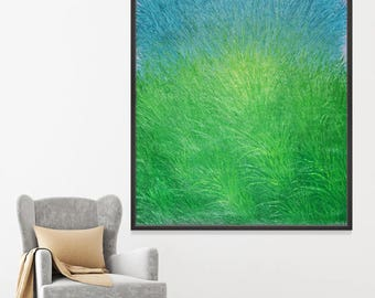Lush: Original painting on canvas, abstract, grass landscape, large painting 48x60, modern art, wall decor, oil painting