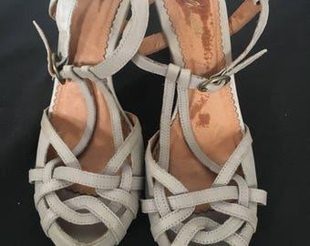 Vintage Style Light Grey Strappy Sandal Heels