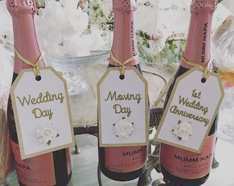 Champagne tags - engagement idea (set of 3)