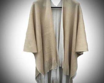 Esther Shawl/Double Sided Cape/Renaissance Medieval Viking Attire Clothing/Tassel Shawl/Grey Cape/Grey Shawl/Knit Poncho/The Kingdom