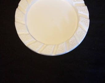 Vintage Round White Milk Glass Cigarette Cigar Ashtray Tobbacianna Collectible Decoration Catchall Bowl