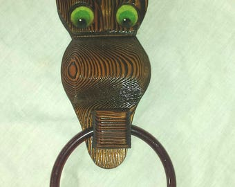 Retro Wood Owl Holder with Bakelite Ring