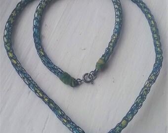 Aquamarine Blue Viking Knit Necklace