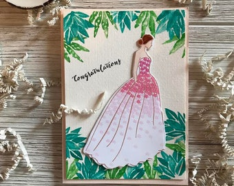 Tropical Handmade Watercolor Wedding Card, Card For The Bride, Succulent Wedding Card, Gorgeous Handmade Wedding Card For Bride to Be