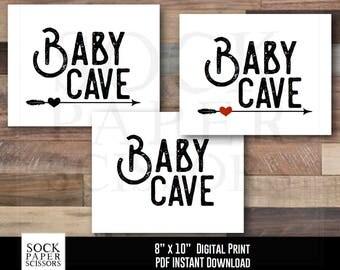 Printable Nursery Art, 3 pack: BABY CAVE Arrow Nursery Art Printable Print, Nursery Decor, Baby Cave Print, PDF Digital Download, Sku-RNA113