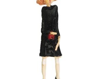 Ceramic Wall Art |  Black Coat | Red Handbag |  Elegant Fashionista Angel | Quirky Gift or a Home Decor