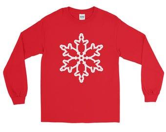 Christmas Snowflake Long Sleeve T-shirt | Holiday Art | Unisex Gift Tee | Seasons Greetings