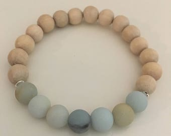 Frosted Amazonite and Wood Bracelet