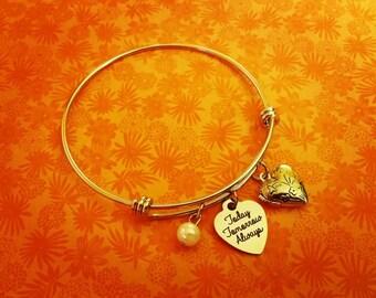 Today Tomorrow Always Stainless Steel Silver Bracelet