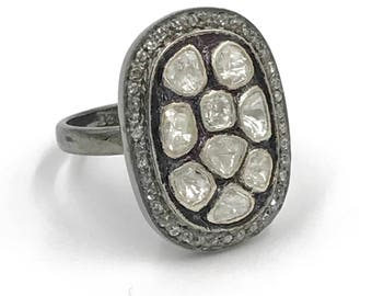 Pave rough cut diamond statement ring