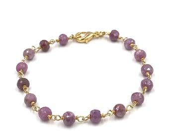 Pink tourmaline gemstone bracelet, Chain bracelet, Pink bracelet, Stone bracelet, Delicate bracelet