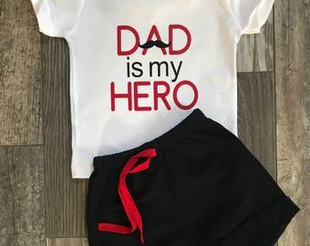 Dad is my hero, Father's Day outfit, Father's Day boy, Father's Day mustache, Father's Day baby boy, Dads day shirt