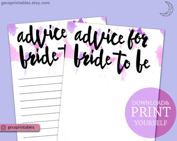 Printable Advice Card Advice For The Bride To Be Bridal Advice