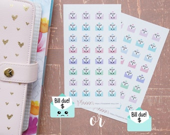32 Mini Sad/Happy Kawaii (or Non Kawaii) Bill Due Stickers // Planner Stickers for all planners. Cute bills due | payment