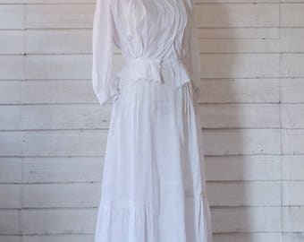 Edwardian Dress / Edwardian Blouse & Skirt Set / 1900s Antique Dress / 1910s Blouse and Skirt Set / Antique Suit